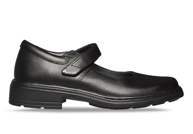 The Clarks Indulge Black (E) is a durable black leather school shoe from Clarks featuring a Mary Jane...