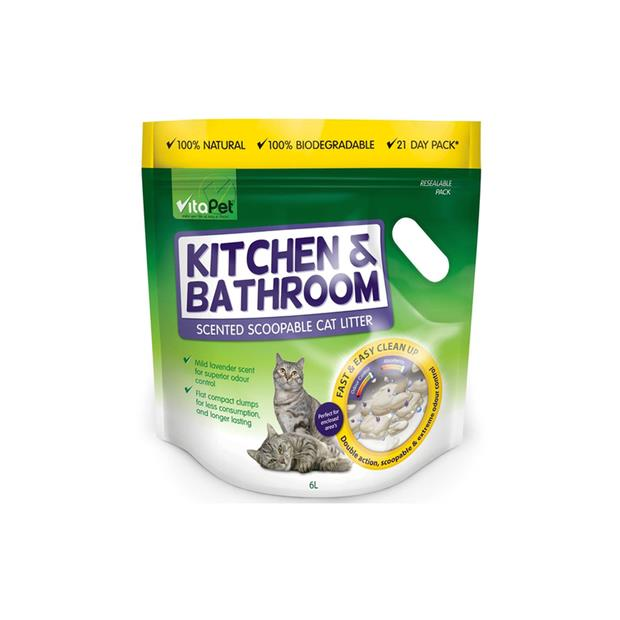 Vitapet Scoopable Cat Litter Kitchen And Bathroom Scented 6L Pet: Cat Category: Cat Supplies  Size: 6kg...