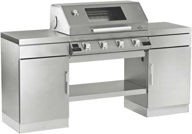 * Stainless Steel Built-in BBQ with Window Hood* Integrated Quartz Start Ignition