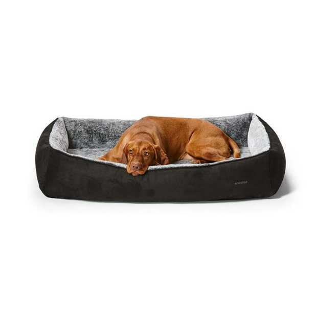 Snooza Snuggler Dog Bed Black Suede its where your dog can snuggle, cuddle, curl or stretch. The base...