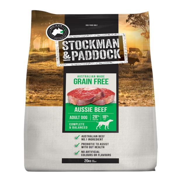 Stockman And Paddock Grain Free Aussie Beef Dry Dog Food 20kg Pet: Dog Category: Dog Supplies  Size:...