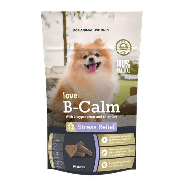 Show your dog the love and help keep them calm with Vetafarm B-Calm Love Bites Stress Relief Dog Chews.