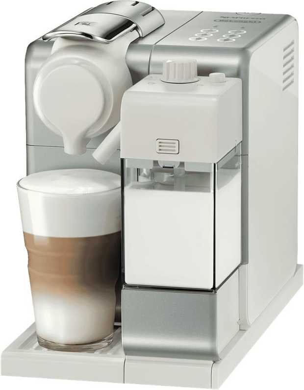 This Nespresso coffee machine has a silver finish and a single-serve capsule design. Its removable...