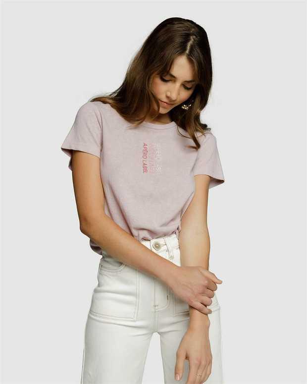 Embrace tonal dressing this season with the Vertigo Embroidered Femme Tee. Made from a soft...