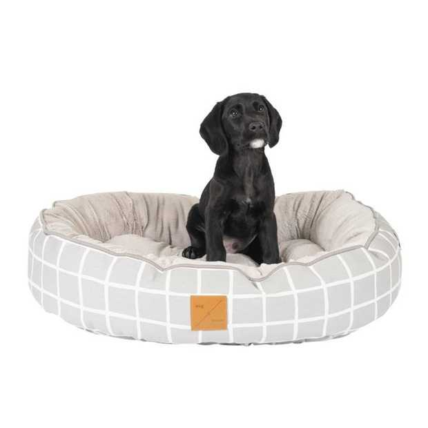 The Mog & Bone 4 Seasons Circular Dog Bed Grey Check  is a versatile, reversible bed that can be...