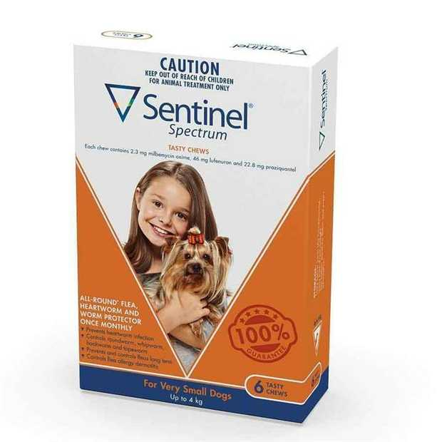 Sentinel Spectrum Flea, Heartworm & Intestinal Wormer - Dogs up to 4kg - 6-Pack