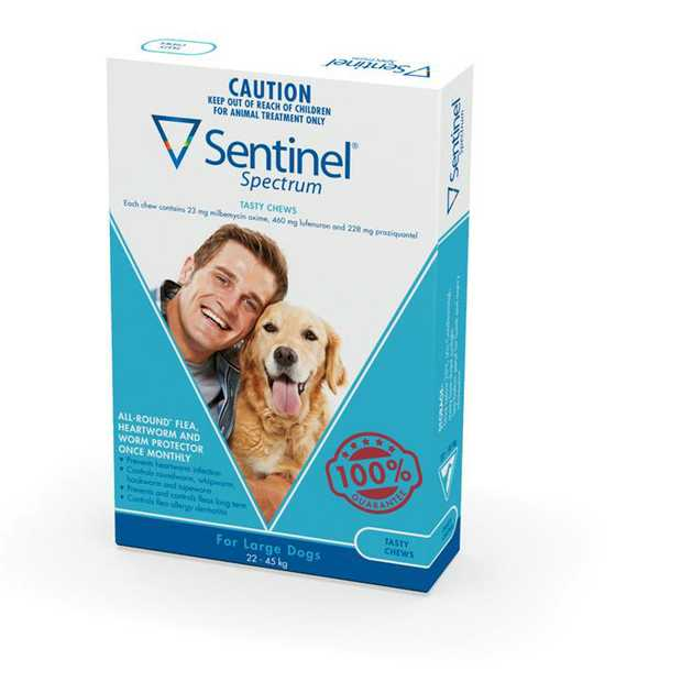 Sentinel Spectrum Flea, Heartworm & Intestinal Wormer - Large Dogs 22-45kg - 6-Pack