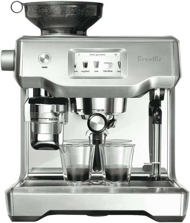 This Breville coffee machine's espresso maker lets you enjoy espresso drinks easily. It has a stainless...