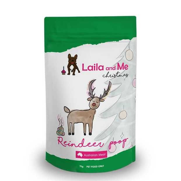 Laila & Me Reindeer Poop Christmas Beef Treats for Dogs 70g - Limited Edition