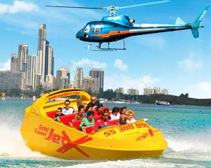 Enjoy Gold Coast views from the air aboard a scenic helicopter flight and from the water aboard an...