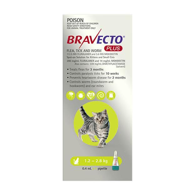 Bravecto Plus For Small Cats 1 Pack Pet: Cat Category: Cat Supplies  Size: 0.2kg  Rich Description:...