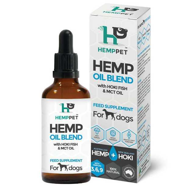 HempPet Hemp Oil Blend with Hoki Fish & MCT Oil Feed Supplement for Dogs 100ml is made with an...