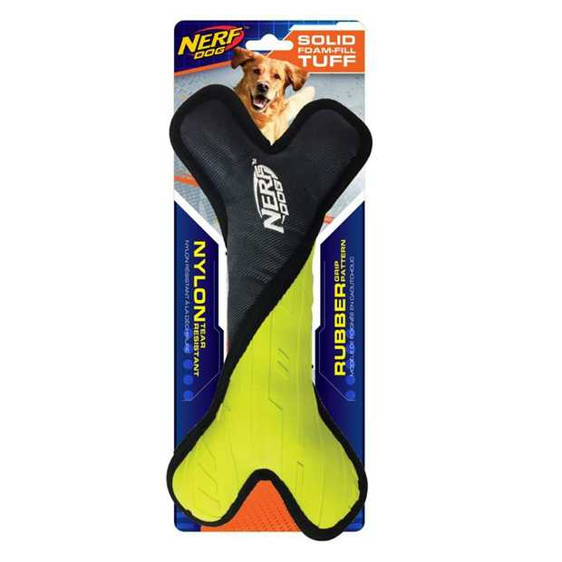 The Nerf Tuff Rubber Nylon Plush Bone Dog Toy 28cm will provide endless hours of fun for you and your...
