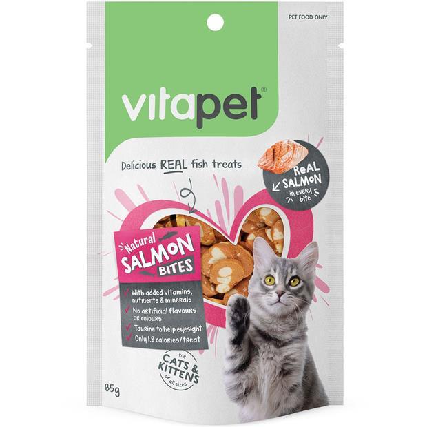 Vitapet Cat Treats Natural Salmon Bites 85g Pet: Cat Category: Cat Supplies  Size: 0.1kg  Rich...