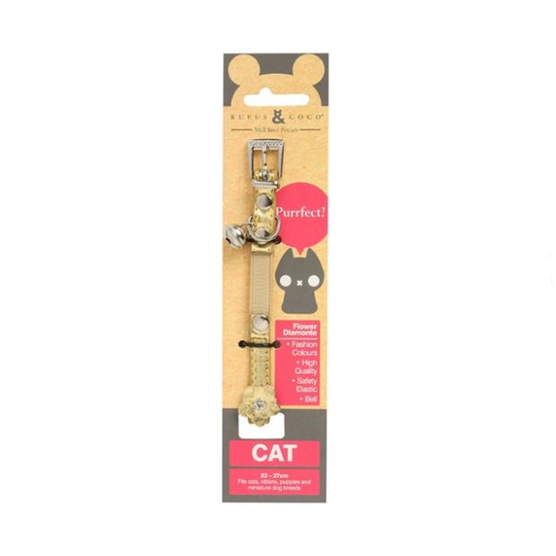 Rufus And Coco Cat Collar Flower Gold Each Pet: Cat Category: Cat Supplies  Size: 0kg Colour: Gold...