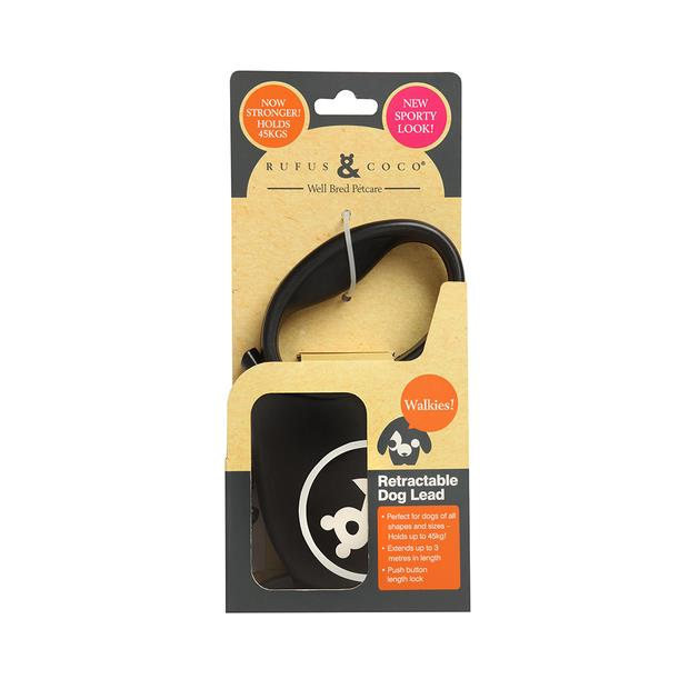 Rufus And Coco Dog Lead Retractable Large Black Each Pet: Dog Category: Dog Supplies  Size: 0.1kg...