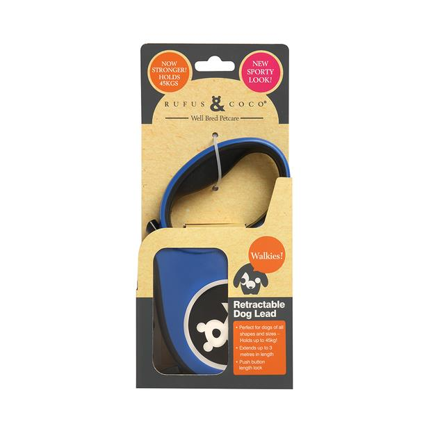 Rufus And Coco Dog Lead Retractable Large Blue Each Pet: Dog Category: Dog Supplies  Size: 0.2kg...
