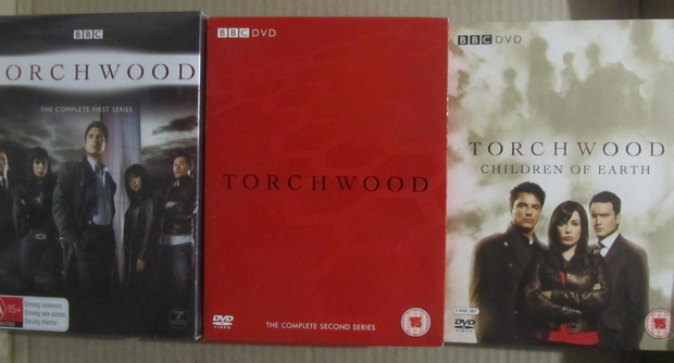 Three DVDs sets from the Dr Who BBC spin off series, Torchwood. The complete first and second series...