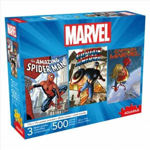 Includes 3 500pc jigsaw puzzles.