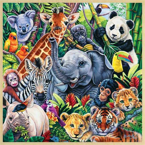 The Masterpieces Wood Fun Facts Safari Friends Puzzle 48 Pieces helps your child learn more about the...