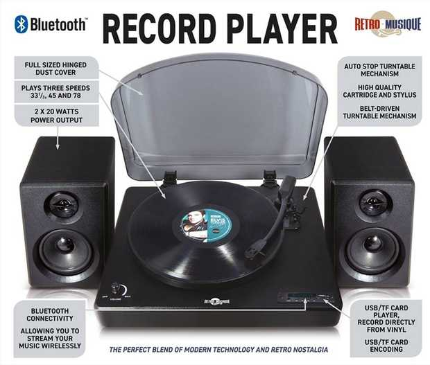 This Table Top Record Player from Retro Musique is perfect for those who love the retro feeling or...