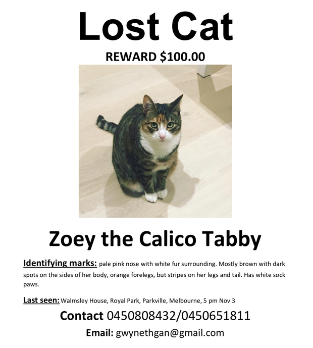 Lost cat last seen 3 Nov, 5 pm at Royal Park, Parkville near Gatehouse Street.Calico coloured with...
