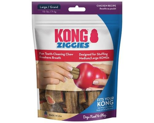 KONG ZIGGIES LARGE  KONG Ziggies are a healthy treat made with a savory chicken flavor. These...