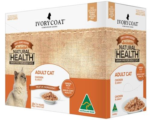 IVORY COAT CAT ADULT CHICKEN IN GRAVY 12X85GWith raw meat serving as the #1 ingredient in this wet food...