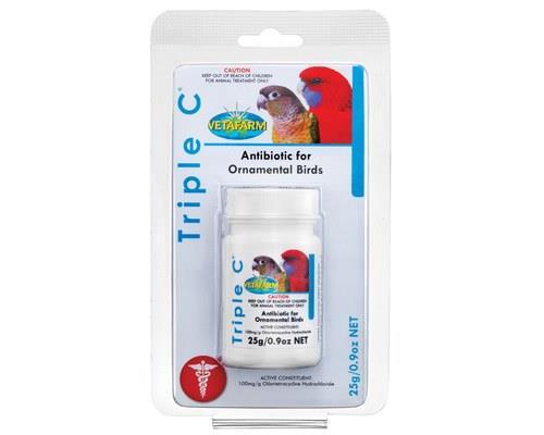 VETAFARM TRIPLE C'S 25GThe Triple C's antibiotic is a powdered broad spectrum antibiotic used to...