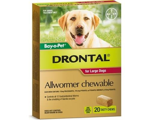 DRONTAL ALLWORMER CHEWABLE LARGE DOG 35KG 20 PACKWorms are a threat to not only your dog but also your...