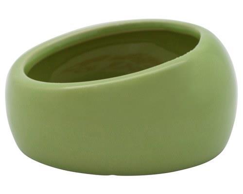 Living World Ergonomic Ceramic Pet Dish, Green, LargeSize:12cm L x 12cm W x 7cm H or holds...
