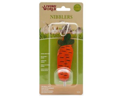 Living World Nibblers, Carrot On a Stick, Small Animal Wood Chew, LargeSize: 15cm L x 4.5cm W x...