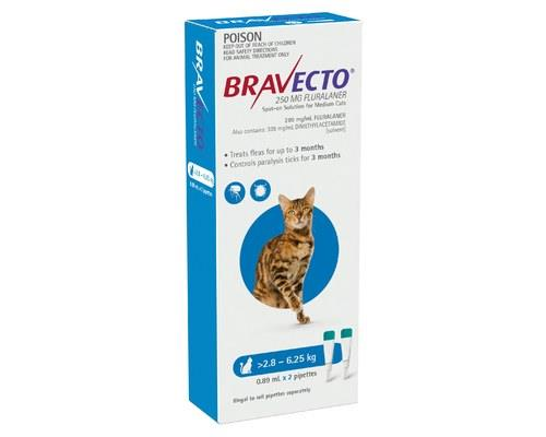 BRAVECTO SPOT CAT MEDIUM 2.8KG TO 6.25KG BLUE 2 PACKBravecto offers up to 3 months flea and paralysis...