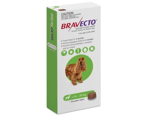 BRAVECTO SPOT DOG MEDIUM 10KG TO 20KG GREEN 1 PACKBravecto offers up to 6 months flea and paralysis...