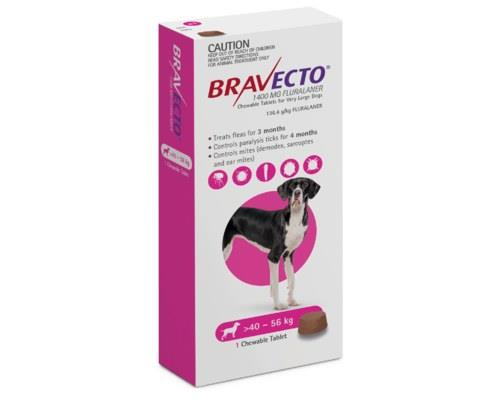 BRAVECTO SPOT DOG X-LARGE 40KG TO 56KG PINK 1 PACKBravecto offers up to 6 months flea and paralysis...