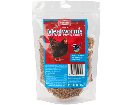 Peters Dried Mealworms, 100gIdeal for: Chickens and insect eating wild birdsDried mealworms make...