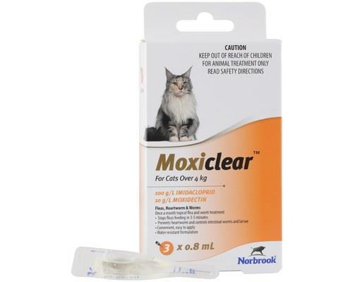 MOXICLEAR FOR CATS OVER 4KG 3 PACKMoxiClear is formulated for cats over 4kg. This is an all-in-one...
