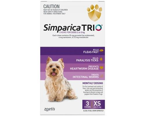 SIMPARICA TRIO 2.6-5KG PURPLE 3 PACKKeep your small dog safe from ALL the nasties such as fleas, ticks...
