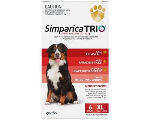 SIMPARICA TRIO 40.1-60KG RED 6PKJumbo-sized dogs need jumbo-sized protection against nasty parasites...