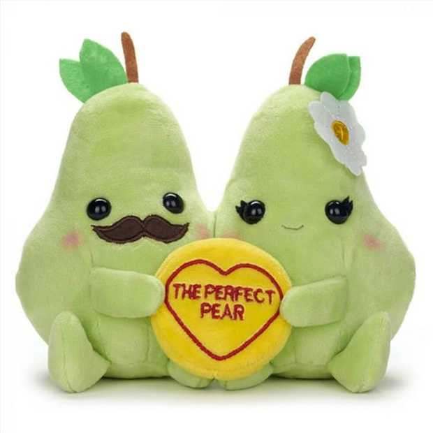 "Swizzels Love Hearts Perfect Pear soft toy with the caption ""Perfect Pear"". This pair..."