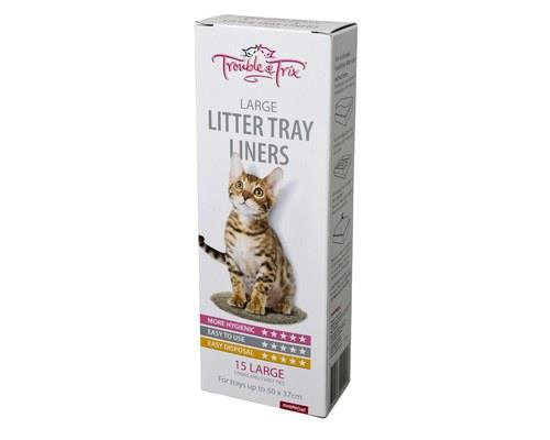 Trouble and Trix Cat Litter Tray Liners, Large, 15 per packSize: Large liners fits trays with the...
