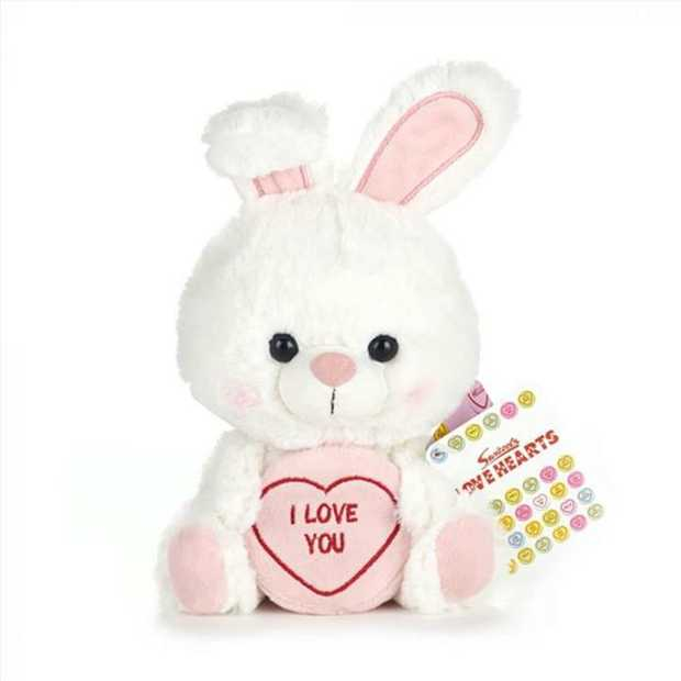 """Swizzels Love Hearts Betty the Bunny soft toy with the caption """"I Love You'. This..."""