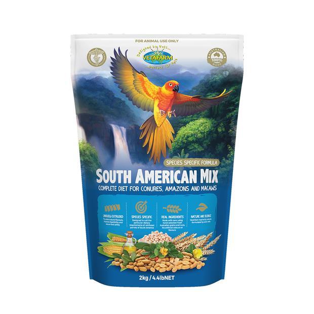 Vetafarm Parrot South American Mix 2kg Pet: Bird Category: Bird Supplies  Size: 2.1kg  Rich...
