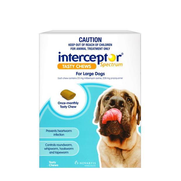 Interceptor Spectrum Chews Large Blue 3 Pack Pet: Dog Category: Dog Supplies  Size: 0.1kg  Rich...