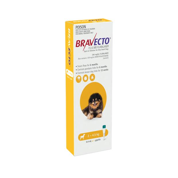 Bravecto Spot On For Dogs Yellow 2 X 1 Pack Pet: Dog Category: Dog Supplies  Size: 0.1kg  Rich...