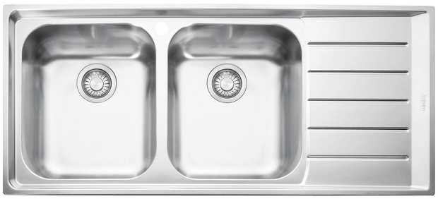 Right hand drainer Top mount sink Stainless steel Double bowl Inset installation  Material: Stainless...
