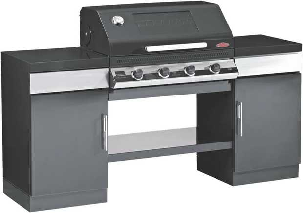 This BeefEater Discovery 1100E 4 Burner Outdoor Kitchen BD79542 is a black enamel built-in BBQ with a...