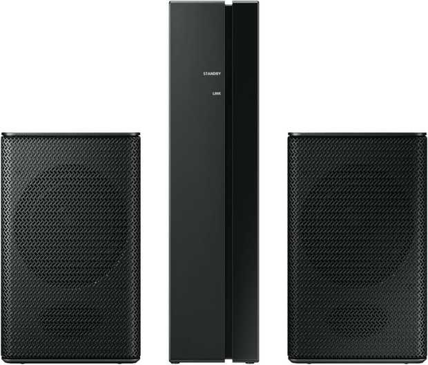 Expand your home theatre sound system with this black Samsung Wireless Rear Speaker Kit. With 2...