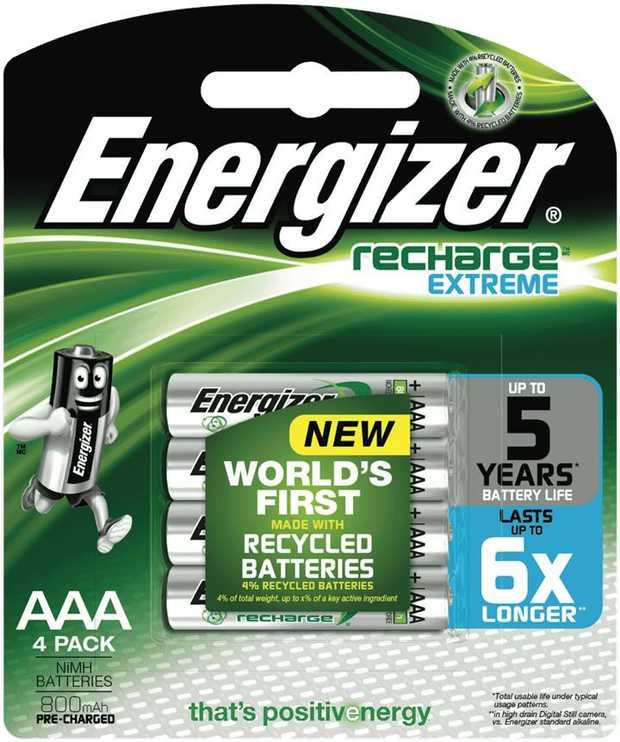 Energizer rechargeable 4 x AAA 800 mAh batteries are recommended for use in high drain or frequently...