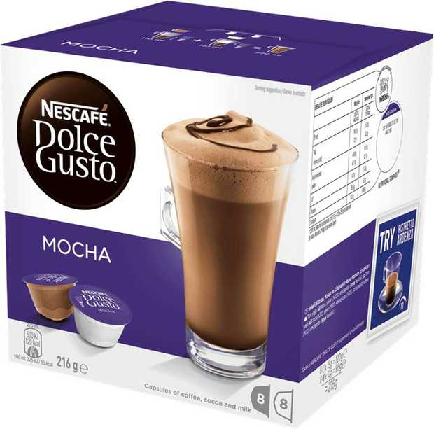 Discover NESCAF� Dolce Gusto Mocha, a delicious cocoa beverage with a hint of coffee made with two...